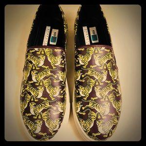 Kenzo Paris Leather Tiger Print Slip on Sneakers